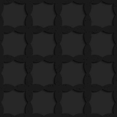 Black textured plastic crossing ovals forming grid.Seamless abstract geometrical pattern with 3d effect. Background with realistic shadows and layering.
