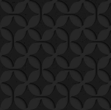 pointy: Black textured plastic pointy four foils in row.Seamless abstract geometrical pattern with 3d effect. Background with realistic shadows and layering. Illustration