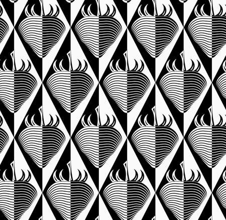 Black and white striped strawberry on diamonds.Seamless stylish geometric background. Modern abstract pattern. Flat monochrome design.