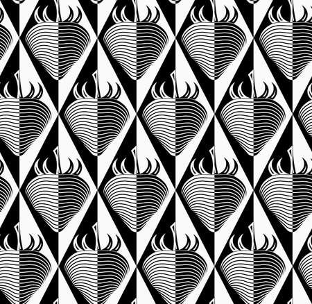 Black and white striped strawberry on diamonds.Seamless stylish geometric background. Modern abstract pattern. Flat monochrome design.