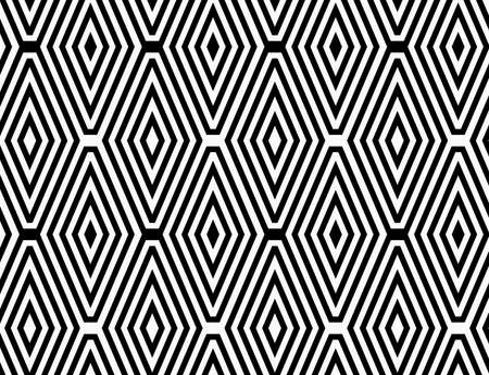Black and white striped diamonds in rows.Black and white striped diamonds.Seamless stylish geometric background. Modern abstract pattern. Flat monochrome design.