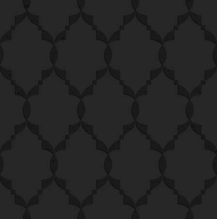 Black textured plastic Islamic grid.Seamless abstract geometrical pattern with 3d effect. Background with realistic shadows and layering.