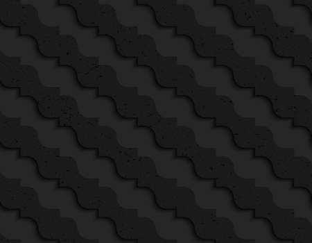 pointy: Black textured plastic diagonal pointy waves.Seamless abstract geometrical pattern with 3d effect. Background with realistic shadows and layering. Illustration