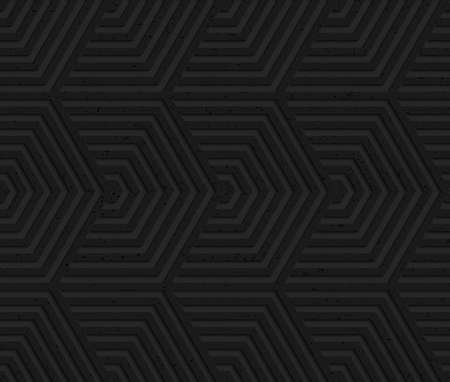 geometrical pattern: Black textured plastic overlapping hexagons.Seamless abstract geometrical pattern with 3d effect. Background with realistic shadows and layering. Illustration