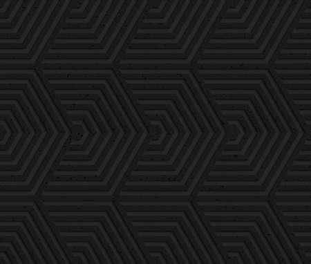 Zwarte geweven plastic overlappende hexagons.Seamless abstract geometrische patroon met 3D-effect. Achtergrond met realistische schaduwen en gelaagdheid.
