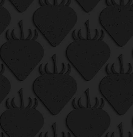 perforated: Black textured plastic solid strawberries.Seamless abstract geometrical pattern with 3d effect. Background with realistic shadows and layering. Illustration