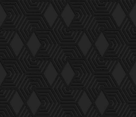 geometrical pattern: Black textured plastic cut hexagons with triangles.Seamless abstract geometrical pattern with 3d effect. Background with realistic shadows and layering. Illustration