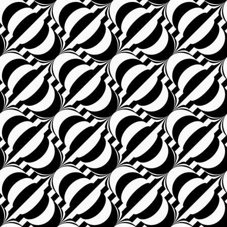 tillable: Black and white diagonal bulbs on stripes.Seamless stylish geometric background. Modern abstract pattern. Flat monochrome design.