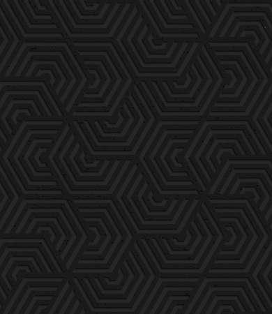 Zwarte geweven plastic overlappende zeshoeken sx turn.Seamless abstract geometrische patroon met 3D-effect. Achtergrond met realistische schaduwen en gelaagdheid.