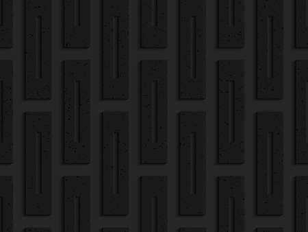 perforated: Black textured plastic rectangles with whole.Seamless abstract geometrical pattern with 3d effect. Background with realistic shadows and layering.