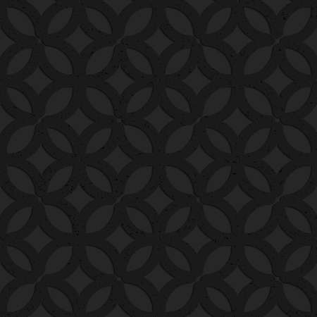grid pattern: Black textured plastic irregular grid with circles.Seamless abstract geometrical pattern with 3d effect. Background with realistic shadows and layering.