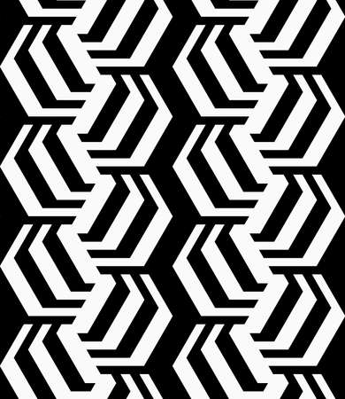 rotated: Black and white striped rotated hexagons.Seamless stylish geometric background. Modern abstract pattern. Flat monochrome design. Illustration