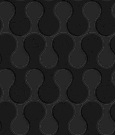 tillable: Black textured plastic solid rounded waves.Seamless abstract geometrical pattern with 3d effect. Background with realistic shadows and layering.