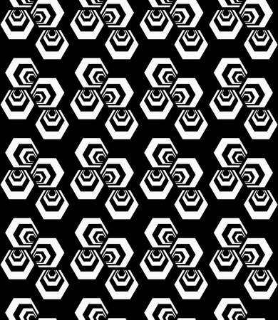 tillable: Black and white striped three turned hexagons.Seamless stylish geometric background. Modern abstract pattern. Flat monochrome design. Illustration