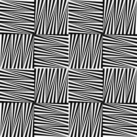 Black and white striped squares.Seamless stylish geometric background. Modern abstract pattern. Flat monochrome design. Ilustrace