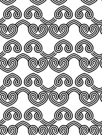 interlocked: Black and white overlapping hearts in row.Seamless stylish geometric background. Modern abstract pattern. Flat monochrome design.