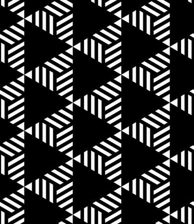 alternating: Black and white striped and black triangles.Seamless stylish geometric background. Modern abstract pattern. Flat monochrome design.