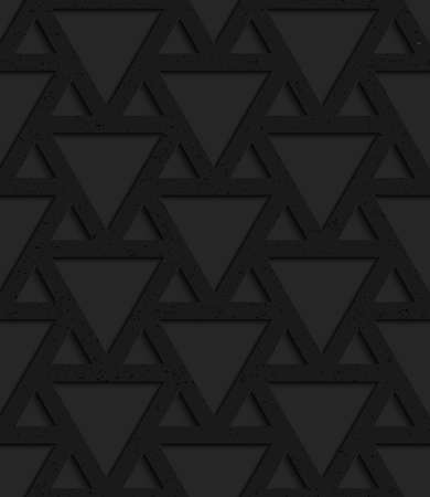 Black textured plastic triangles grid.Seamless abstract geometrical pattern with 3d effect. Background with realistic shadows and layering.