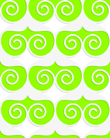 tillable: Colored 3D green swirled hearts.Seamless geometric background. Modern 3D texture. Pattern with realistic shadow and cut out of paper effect. Illustration
