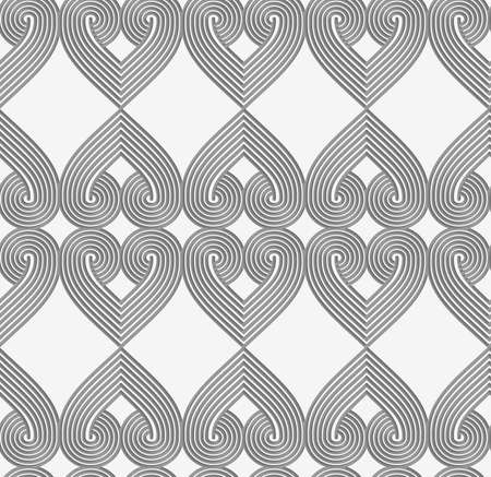 tillable: Perforated striped hearts.Seamless geometric background. Modern monochrome 3D texture. Pattern with realistic shadow and cut out of paper effect. Illustration