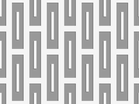perforated: Perforated rectangles.Seamless geometric background. Modern monochrome 3D texture. Pattern with realistic shadow and cut out of paper effect.