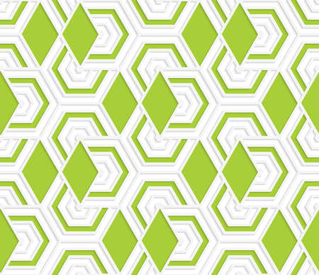 green paper: Colored 3D overlapping with green diamonds hexagons .Seamless geometric background. Modern 3D texture. Pattern with realistic shadow and cut out of paper effect.