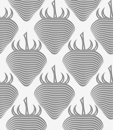 Perforated strawberry striped.Seamless geometric background. Modern monochrome 3D texture. Pattern with realistic shadow and cut out of paper effect.