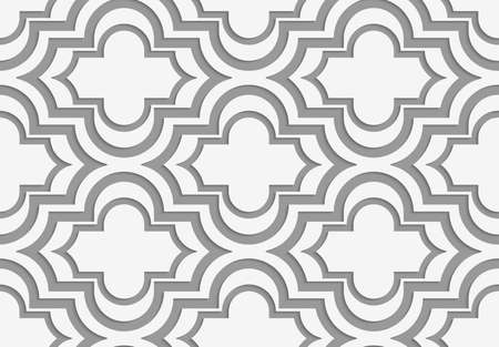 perforated: Perforated horizontal offset Marakech.Seamless geometric background. Modern monochrome 3D texture. Pattern with realistic shadow and cut out of paper effect. Illustration