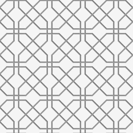 perforated: Perforated crossing grids.Seamless geometric background. Modern monochrome 3D texture. Pattern with realistic shadow and cut out of paper effect.
