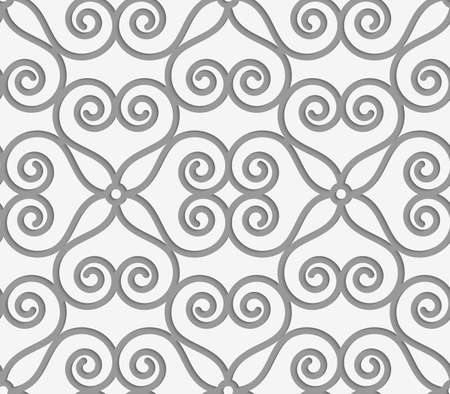outs: Perforated swirly flower grid.Seamless geometric background. Modern monochrome 3D texture. Pattern with realistic shadow and cut out of paper effect.