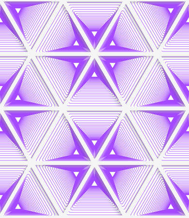 purple wallpaper: Colored 3D purple striped hexagonal grid.Seamless geometric background. Modern 3D texture. Pattern with realistic shadow and cut out of paper effect.