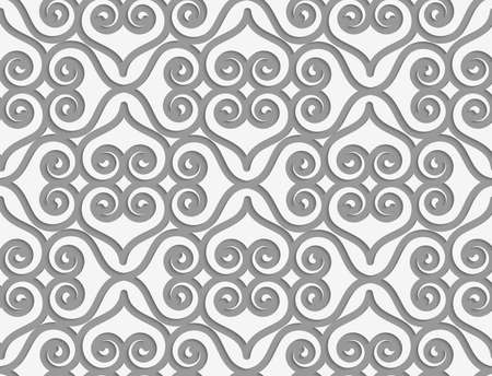 Perforated swirly grid with hearts.Seamless geometric background. Modern monochrome 3D texture. Pattern with realistic shadow and cut out of paper effect. Illustration