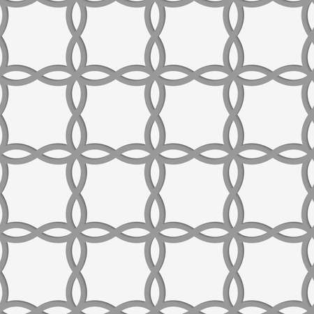 Perforated four foils forming squares.Seamless geometric background. Modern monochrome 3D texture. Pattern with realistic shadow and cut out of paper effect.