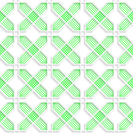 perforated: Colored 3D green striped crosses.Seamless geometric background. Modern 3D texture. Pattern with realistic shadow and cut out of paper effect. Illustration