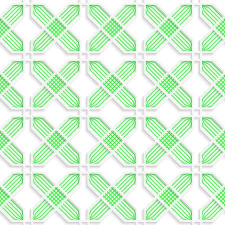 Croix colorées rayées vert 3D. Arrière-plan géométrique sans soudure. Texture 3D moderne. Modèle avec une ombre réaliste et découpé en papier. Banque d'images - 46323043
