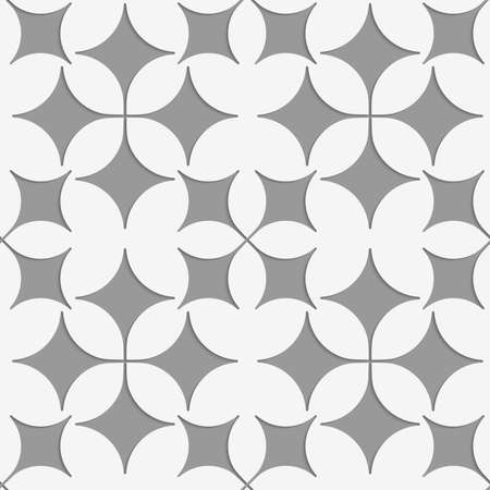 perforated: Perforated pointy four foils.Seamless geometric background. Modern monochrome 3D texture. Pattern with realistic shadow and cut out of paper effect. Illustration