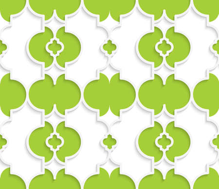 Colored 3D green Marrakech.Seamless geometric background. Modern 3D texture. Pattern with realistic shadow and cut out of paper effect.