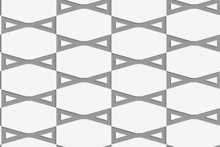 Perforated bows in grid.Seamless geometric background. Modern monochrome 3D texture. Pattern with realistic shadow and cut out of paper effect.