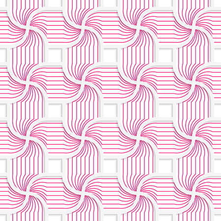 Colored 3D pink striped pedals with squares.Seamless geometric background. Modern 3D texture. Pattern with realistic shadow and cut out of paper effect. Illustration