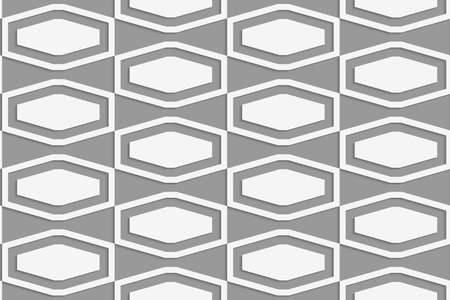 Perforated squashed hexagons in grid.Seamless geometric background. Modern monochrome 3D texture. Pattern with realistic shadow and cut out of paper effect. Ilustração