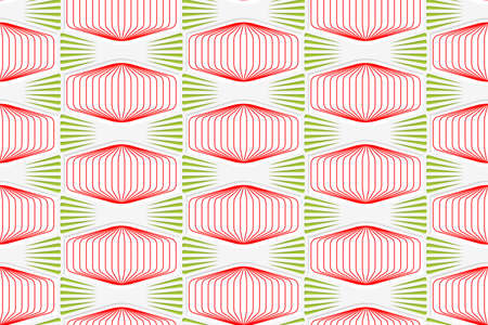tillable: Colored 3D red and green striped squished hexagons.Seamless geometric background. Modern 3D texture. Pattern with realistic shadow and cut out of paper effect. Illustration