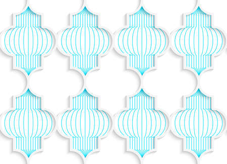 tillable: Colored 3D blue vertical Chinese lanterns.Seamless geometric background. Modern 3D texture. Pattern with realistic shadow and cut out of paper effect.