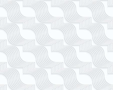 Quilling papier blanc ondulé diagonal ribbons.White fond géométrique. Seamless. 3d découpé hors de l'effet de papier avec des ombres réalistes. Banque d'images - 46323131