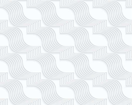 perforated: Quilling white paper diagonal wavy ribbons.White geometric background. Seamless pattern. 3d cut out of paper effect with realistic shadow.
