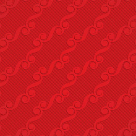 Red diagonal monogram on checkered background.Seamless geometric background. 3D layered and textured pattern with realistic shadow and cut out effect. Ilustração
