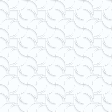Quilling white paper twisted diamonds with stripes.White geometric background. Seamless pattern. 3d cut out of paper effect with realistic shadow.