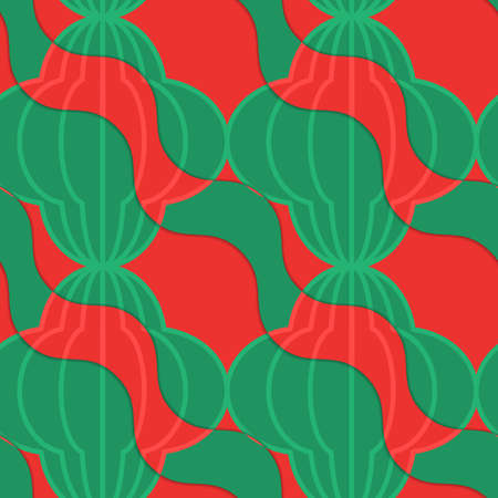 thee: Retro 3D tomato diagonal wavy striped bulbs.Abstract layered pattern. Bright colored background with realistic shadow and thee dimensional effect.