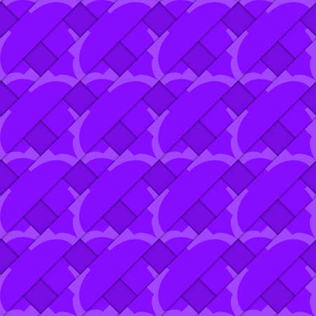 thee: Retro 3D purple stripes crossed.Abstract layered pattern. Bright colored background with realistic shadow and thee dimensional effect. Illustration