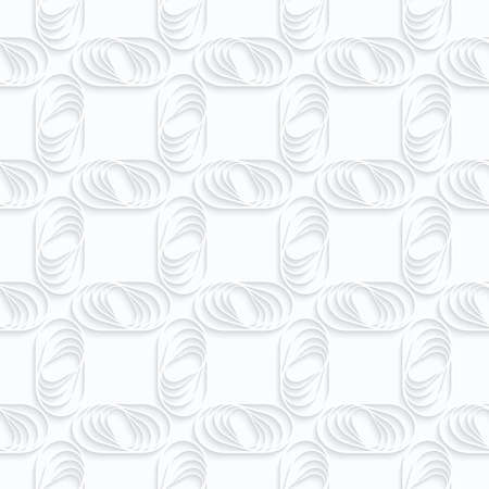 Quilling white paper ovals with stripes in grid.White geometric background. Seamless pattern. 3d cut out of paper effect with realistic shadow.