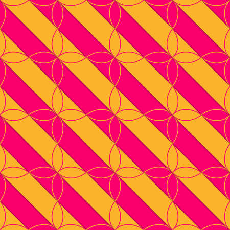 thee: Retro 3D pink and orange diagonal with four foils .Abstract layered pattern. Bright colored background with realistic shadow and thee dimensional effect.